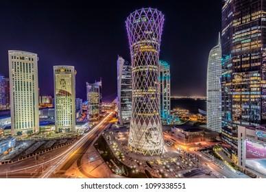 Doha, Doha/Qatar-May 27, 2018: Doha Cityscape at Night Doha, Qatar