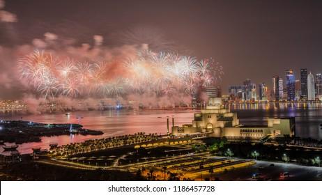 Doha, Doha/Qatar-Sept 24, 2018: Qatar National Day fireworks, Doha Qatar.