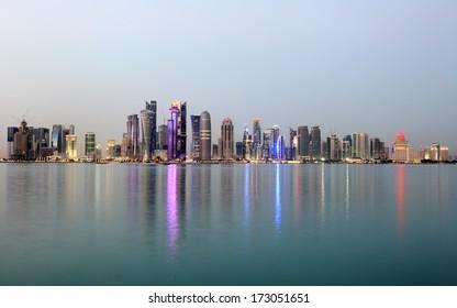 Doha downtown skyline at dusk, Qatar, Middle East