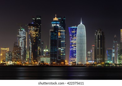 Doha downtown skyline at night. Qatar, Middle East