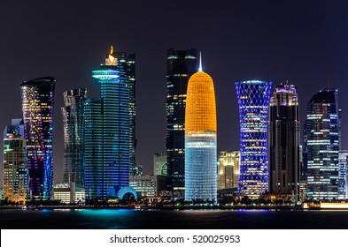 Doha night skyline, Qatar