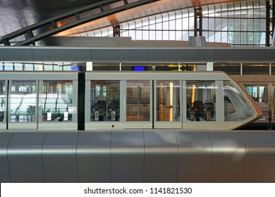 DOHA, QATAR -10 JUL 2018- View of the monorail at the terminal at the Hamad International Airport (DOH) opened in 2014 as the new international airport in Doha.