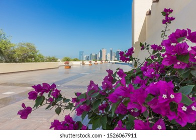 Doha - Qatar - 10/04/2019: cityscape from Imam Muhammad ibn Abd al-Wahhab Mosque (also called the Qatar State Mosque)