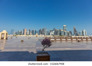 Doha - Qatar - 10/04/2019: Doha skyline from Imam Muhammad ibn Abd al-Wahhab Mosque (also called the Qatar State Mosque)