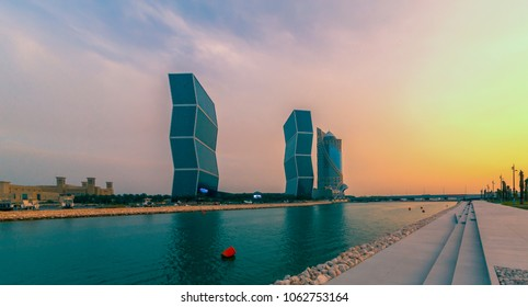 DOHA, QATAR -11 March 2018 - View of the Zigzag Towers twin skyscrapers by the Lagoona Mall in Doha.