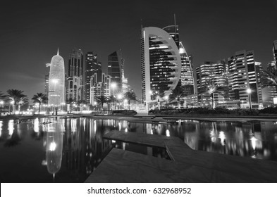 Doha qatar 12th April 2017:black and white photography of doha qatar.