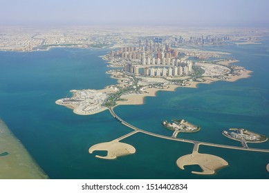 DOHA, QATAR -17 JUN 2019- Aerial view of Doha and the Pearl Qatar area. The capital of Qatar will host the 2022 FIFA World Cup of soccer.
