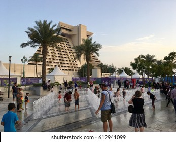 Doha, Qatar- 1st April 2017: Public enjoying at Qatar International Food Festival at Sheraton Park, in Doha, Qatar.