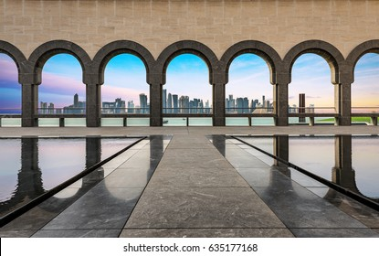 DOHA, QATAR - 1st April 2017: View from the Museum of Islamic Art towards the Skyline of Doha during sunset
