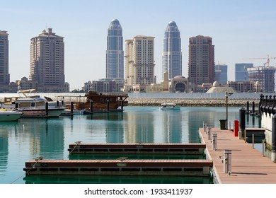 Doha, Qatar - 1st Jan 2017: The Pearl - Doha and marina surrounded by high rise buildings and luxury residential and commercial towers