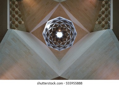 DOHA, QATAR -20 DEC 2016- Inside view of the iconic Museum of Islamic Art building designed by architect I. M. Pei. The MIA is located on an artificial peninsula on the Doha Corniche.