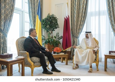 DOHA, QATAR - 20 Mar 2018: President of Ukraine Petro Poroshenko and Emir of the State of Qatar Sheikh Tamim bin Hamad Al Thani during the official visit of Peter Poroshenko to the State of Qatar
