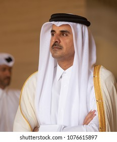 DOHA, QATAR - 20 Mar 2018: Emir of the State of Qatar Sheikh Tamim bin Hamad Al Thani during the official visit of the president of Ukraine Petero Poroshenko to the State of Qatar