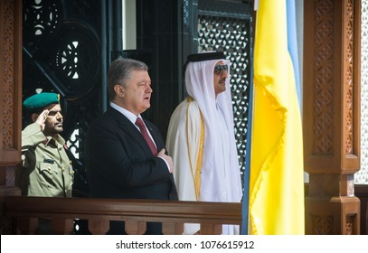 DOHA, QATAR - 20 Mar 2018: President of Ukraine Petro Poroshenko and Emir of the State of Qatar Sheikh Tamim bin Hamad Al Thani during the official visit of Peter Poroshenko to the State of Qatar