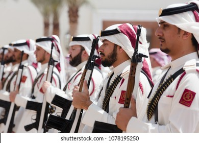 DOHA, QATAR - 20 Mar 2018: Qatar Emiri Guards. Guard of honor during the official visit of the Ukrainian president Petra Poroshenko to Qatar