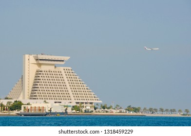 Doha, Qatar - 28th January 2019: Skyline of Doha, view of famous Sheraton hotel on Corniche of Doha, Qatar