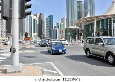 Doha, Qatar - 28th January 2019: Busy roads of downtown Doha, Qatar