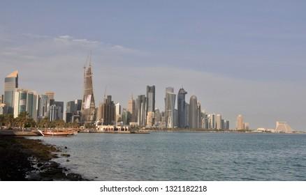 Doha, Qatar - 28th January 2019: Skyline of Doha corniche  - Doha, Qatar