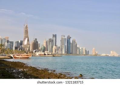 Doha, Qatar - 28th January 2019: traditional Dhow boat mooring in Doha, Qatar