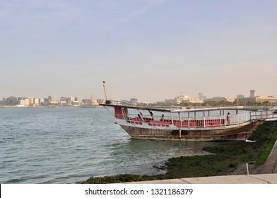 Doha, Qatar - 28th January 2019: traditional Dhow boat mooring - Doha, Qatar