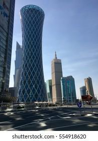 Doha, Qatar - 2nd January 2017: Corniche of Doha, view of financial district and beautiful modern skyline of Doha
