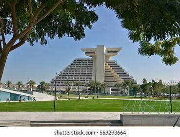 Doha, Qatar - 2nd January 2017: Skyline of Doha, view of famous Sheraton hotel on Corniche of Doha, Qatar