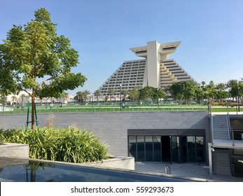 Doha, Qatar - 2nd January 2017: Skyline of Doha, view of famous Sheraton hotel on Corniche of Doha, Qatar