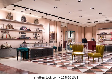 DOHA, QATAR - 31 OCT 2019: Interior view of The Gucci store in Hamad International Airport. Gucci is an Italian luxury brand of fashion and leather goods.