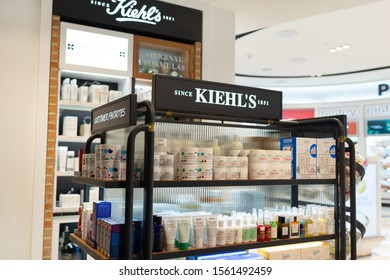DOHA, QATAR - 31 OCT 2019: Kiehl's cosmetics store in Hamad International Airport. Kiehl's is an American cosmetics brand retailer that specializes in premium skin, hair, and body care products.