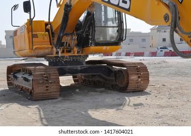Doha, Qatar - 31st Jan 2019: Modern excavator at excavation work on a construction site