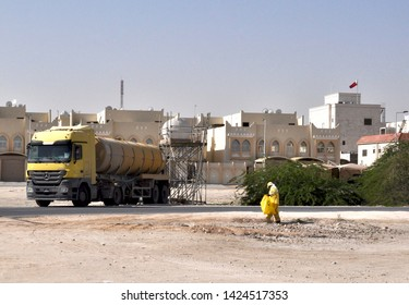 Doha, Qatar - 31st Jan 2019: Liquid transport vehicle at a building site.