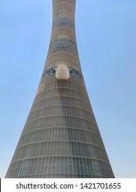 Doha, Qatar - 7th June 2019:  The Aspire Tower (nicknamed Torch Doha), located in the Aspire Zone complex near the Khalifa International Stadium