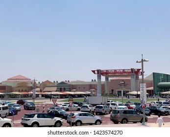 Doha, Qatar - 7th June 2019: Car parking of popular Village mall in Doha, Qatar