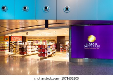 DOHA, QATAR - APR7, 2018: Duty free shop inside Hamad International Airport on April 7,2018 in Doha,Qatar. It is the hub for national carrier Qatar Airways and the international airport.