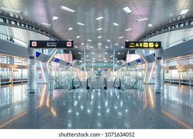 DOHA, QATAR - APR7, 2018: Interior of Hamad International Airport on April 7,2018 in Doha,Qatar. It is the hub for national carrier Qatar Airways and the international airport.