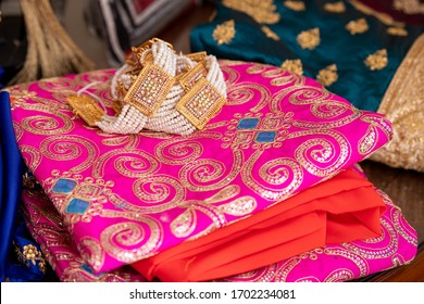 Doha, Qatar - April 10, 2020: Traditional bridal dress with jewelry. Fashion and Jewelry Concept