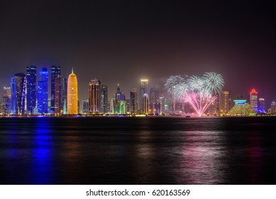 DOHA, QATAR - APRIL 13: Doha skyline night scene at the West Bay City on April 13, 2017 in Doha, Qatar, Middle-East.