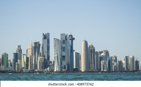 DOHA, QATAR - APRIL 16, 2016: Modern skyscrapers in Doha. April 16, 2016 Doha, Qatar - Middle East.