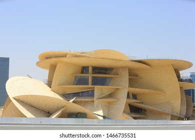 Doha, Qatar - April 16, 2017: The National Museum of Qatar under construction. Its design is inspired by a desert rose.
