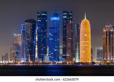 DOHA, QATAR - APRIL 17: Doha skyline night scene at the West Bay City on April 17, 2017 in Doha, Qatar, Middle-East.