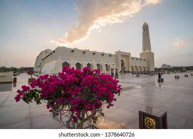 DOHA, QATAR - APRIL 23: The State Mosque of Qatar on April 23, 2019 in Doha, Qatar. Sheikh Muhammad Ibn Abdul Wahhab Mosque, also known as The Grand Mosque
