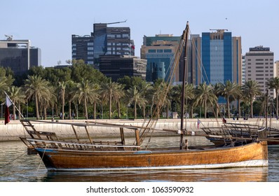 DOHA, QATAR - April 7, 2018: A type of dhow known as a jalibut anchored in the Museum lagoon in Doha.