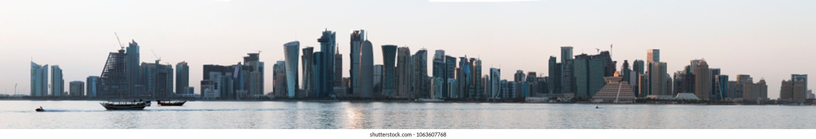 DOHA, QATAR - April 7, 2018: Panoramic view of the skyline in the Gulf Arab capital city, high resolution, stitched from several detailed photos