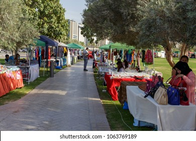 DOHA, QATAR - April 7, 2018: A view of the stalls in the weekend bazaar at the Museum of Islamic Art  park