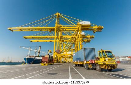 DOHA, QATAR - Aug 10 / 2018 - Hamad Sea Port in Qatar, Middle East.