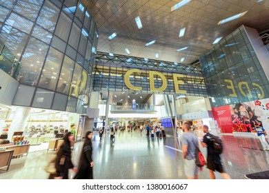 DOHA, QATAR - AUGUST 17, 2018: Modern interior of  Hamad International Airport. The airport opened on 30 April 2014.