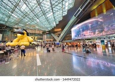 DOHA, QATAR - AUGUST 17, 2018: Interior of Hamad International Airport. It is a major hub to eastern destinations.