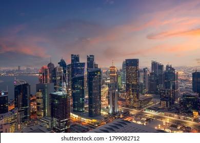 Doha, Qatar - August 19, 2020: Beautiful Sunset Aerial view of Dafna area west bay Doha.