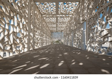 DOHA, QATAR - AUGUST 20, 2018: Patterned pergola of Ceremonial Court in Education City campus Doha, Qatar.