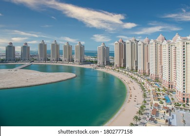 Doha, Qatar - August 25, 2020: Residential buildings in the Pearl Qatar, an artificial island in Doha